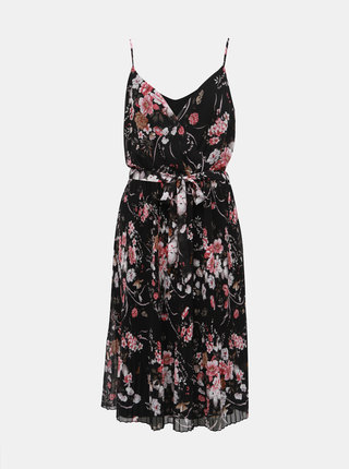 Černé květované plisované šaty ONLY Thea