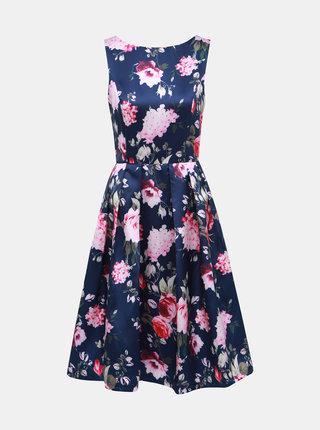 Tmavomodré kvetované šaty Mela London