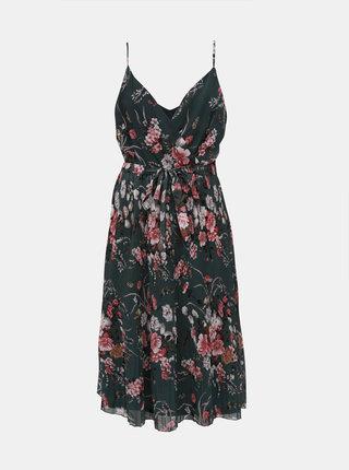 Tmavozelené kvetované plisované šaty ONLY Thea