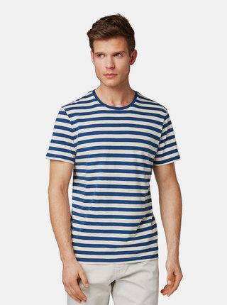 Krémovo–modré pánske pruhované basic tričko Tom Tailor