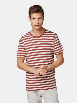 Krémovo–vínové pánske pruhované basic tričko Tom Tailor