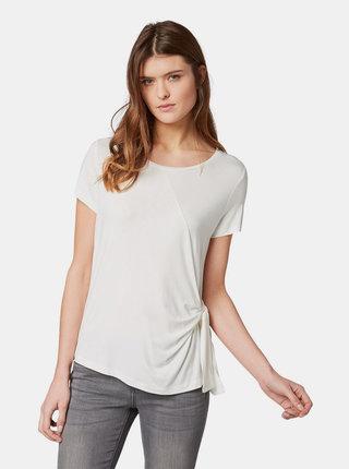 Krémové dámske tričko s uzlom Tom Tailor
