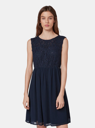 Tmavě modré šaty s krajkovým topem Tom Tailor Denim