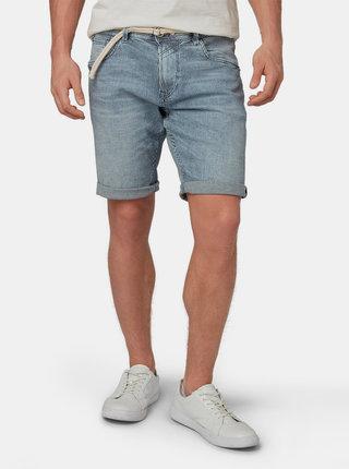 Pantaloni scurti barbatesti albastru inchis regular fit in dungi din denim Tom Tailor Denim
