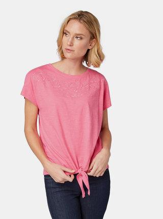 Růžový top s výšivkou Tom Tailor