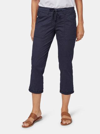 Modré dámské tapered 3/4 kalhoty s výšivkou Tom Tailor