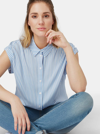 Modrá dámska pruhovaná košeľa Tom Tailor