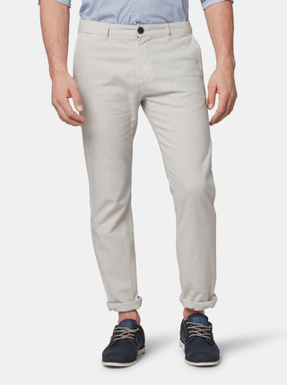 Světle šedé pánské lněné regular fit chino kalhoty s karabinkou Tom Tailor