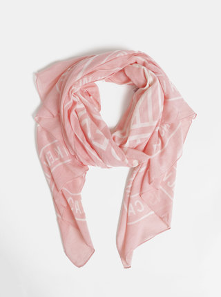 Růžový dámský vzorovaný šátek Calvin Klein Jeans