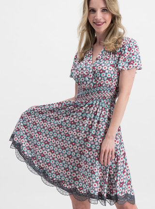 Ružovo–modré vzorované šaty Blutsgeschwister Sweet Mariandl
