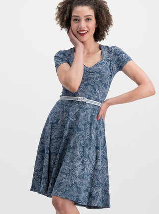 Modré vzorované šaty s páskem Blutsgeschwister
