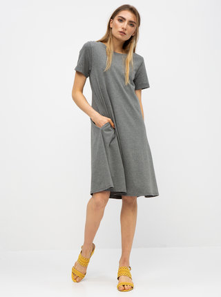 Sivé basic šaty s vreckami ZOOT