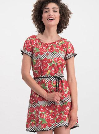 Červené kvetované šaty Blutsgeschwister Cowshed Romance