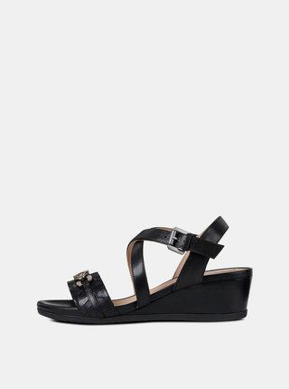 Čierne dámske kožené sandále na plnom podpätku Geox Mary Karmen