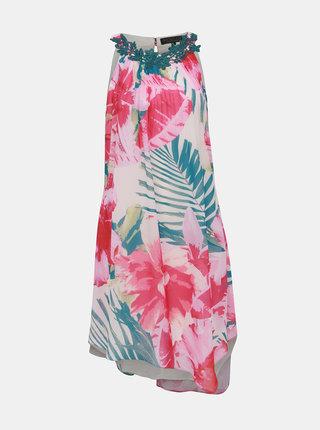 Rochie asimetrica verde-roz florala Dorothy Perkins