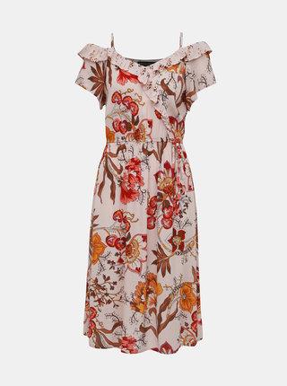Hnedo–ružové kvetované šaty s odhalenými ramenami Dorothy Perkins