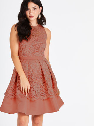 Meruňkové krajkové šaty Little Mistress
