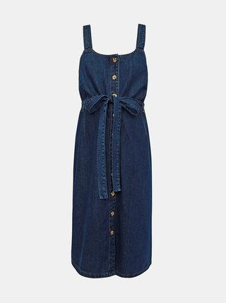 Rochie albastru inchis din denim pentru femei insarcinate cu bretele Dorothy Perkins Maternity