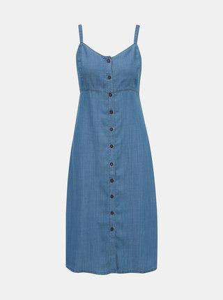 Modré rifľové šaty na ramienka Dorothy Perkins