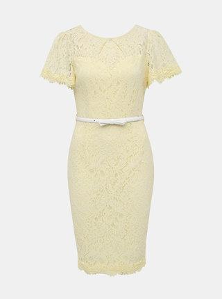 Svetložlté čipkované puzdrové šaty s opaskom Dorothy Perkins