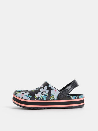 Černé dámské květované pantofle Crocs Crockband Seasonal Graphic