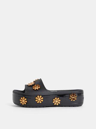 Papuci negri de dama cu platforma si aplicatie decorativa Crocs Platform Metallic Blooms