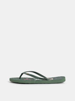 Papuci flip-flop verde inchis Roxy Sandy
