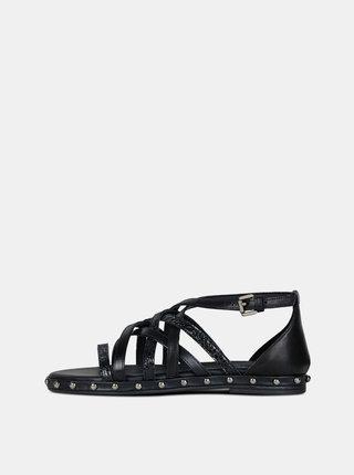 Sandale negre de dama din piele Geox Kolleen