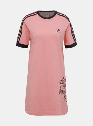 Rúžové šaty s výšivkou adidas Originals Tee