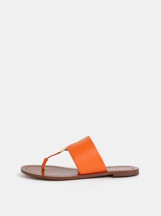 Papuci flip-flop oranj de dama din piele ALDO Ocericia