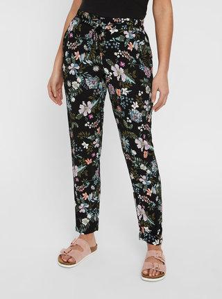 Pantaloni negri florali VERO MODA Simply Easy