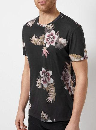 Čierne kvetované tričko Burton Menswear London