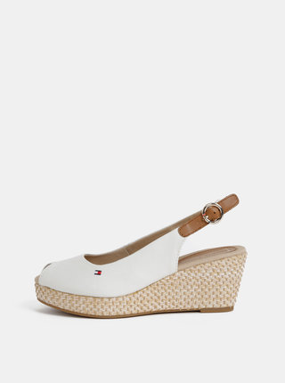 Krémové sandále na plnom podpätku Tommy Hilfiger