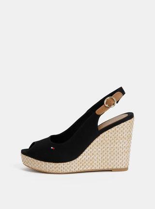 Černé sandálky na klínku Tommy Hilfiger