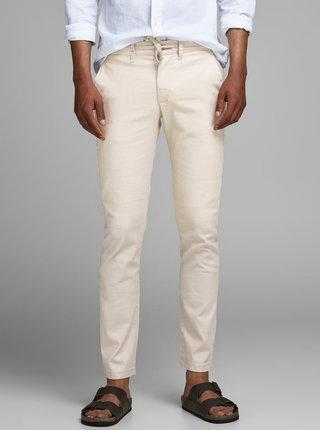 Béžové lněné kalhoty Jack & Jones Marco