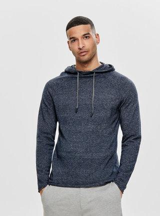 Tmavě modrý žíhaný svetr s kapucí ONLY & SONS Alexo