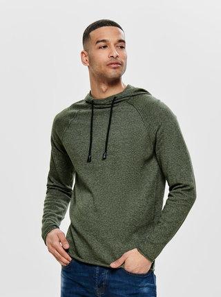Kaki melírovaný sveter s kapucňou ONLY & SONS Alexo