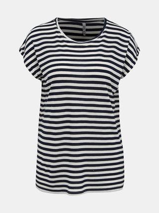 Bielo-modré dámske pruhované basic tričko Haily´s Glenn