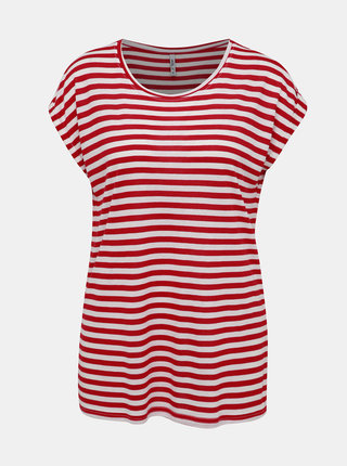 Bílo-červené dámské pruhované basic tričko Haily´s Glenn