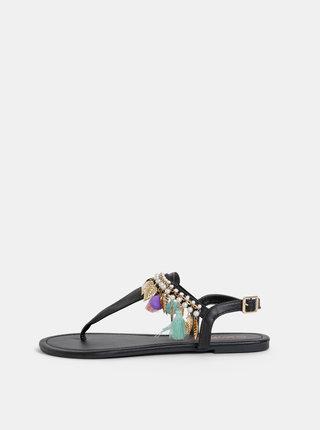 Čierne dámske sandále s ozdobnými detailami Haily´s Pom