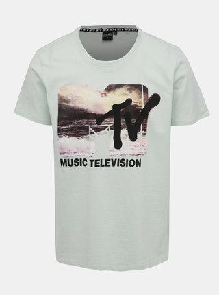 Svetlozelené pánske tričko s potlačou Haily´s Music