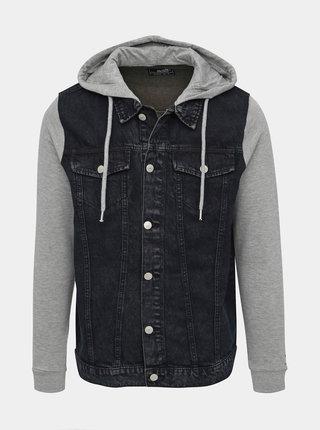 Tmavě modrá pánská džínová bunda s mikinovými rukávy Haily´s Flynn