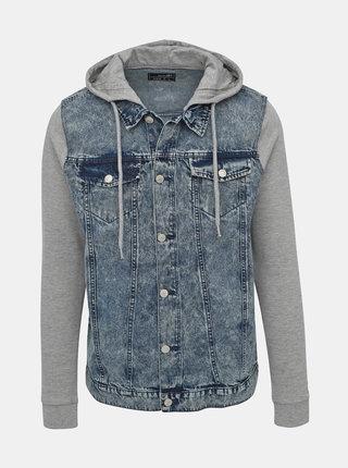Modrá pánska džínová bunda s mikinovými rukávmi Haily´s Flynn