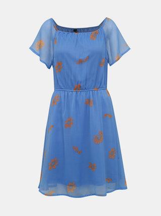 Modré kvetované šaty VERO MODA Wonda