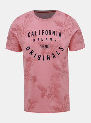 Rúžové vzorované tričko Jack & Jones Fun