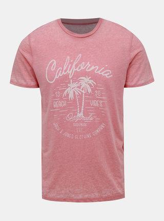 Růžové žíhané tričko Jack & Jones New Hero