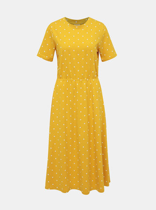 Žlté bodkované midišaty Jacqueline de Yong Billie