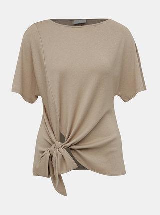 Světle hnědé tričko s mašlí VILA Namina