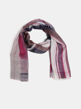 Růžový vzorovaný šátek Pieces Cat