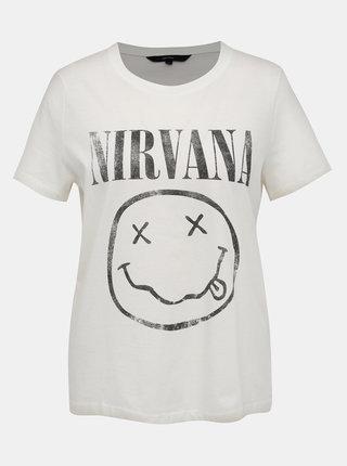 Bílé tričko s potiskem VERO MODA Nirvana